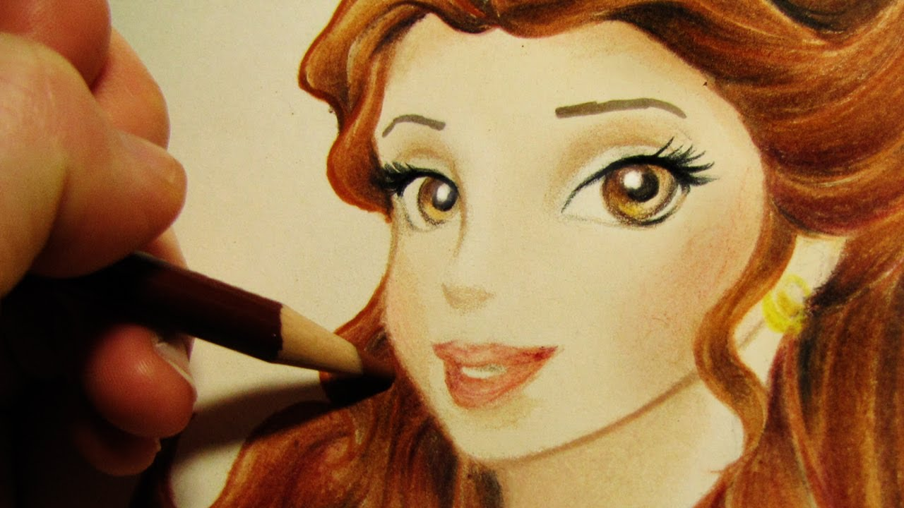 1280x720 Speed Drawing Belle From Disney Princess