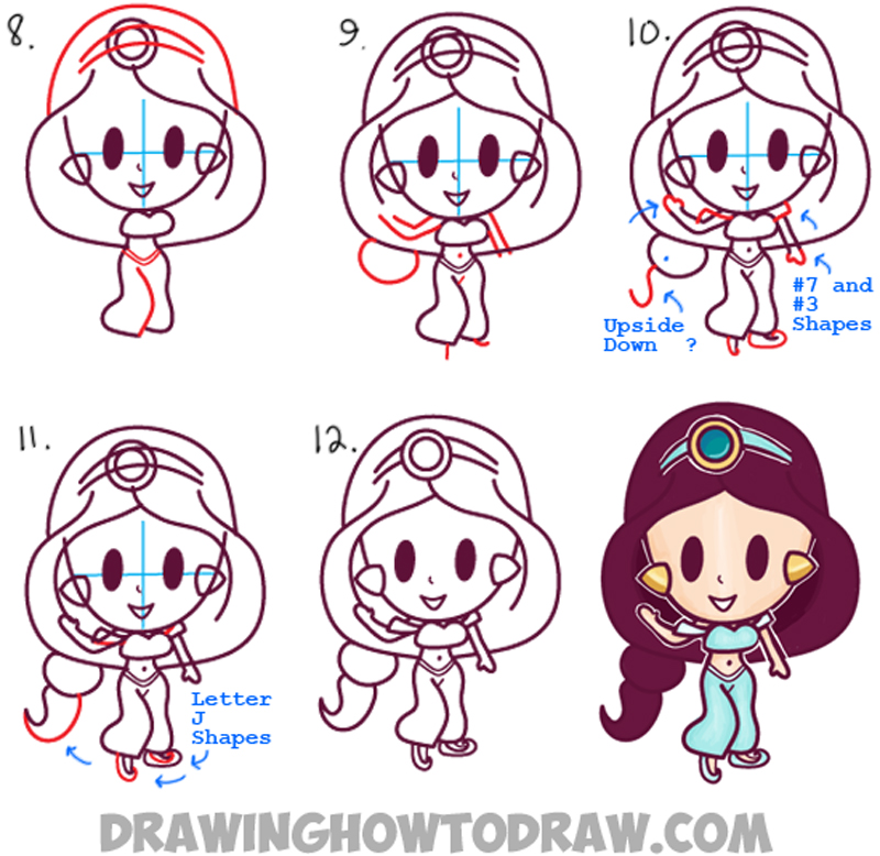 800x778 How To Draw Cute Baby Kawaii Chibi Jasmine From Disney39s Aladdin