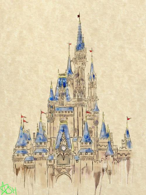 500x667 Disneyland Castle Drawing Aquarelle Inspi