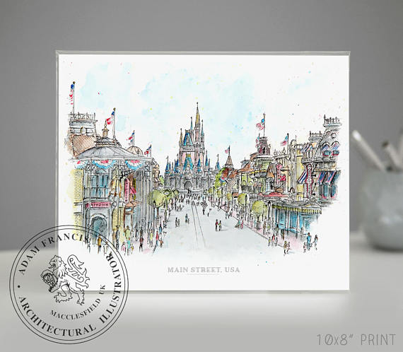 570x498 Main Street Usa Disney World Art Prints Taken From My Pen