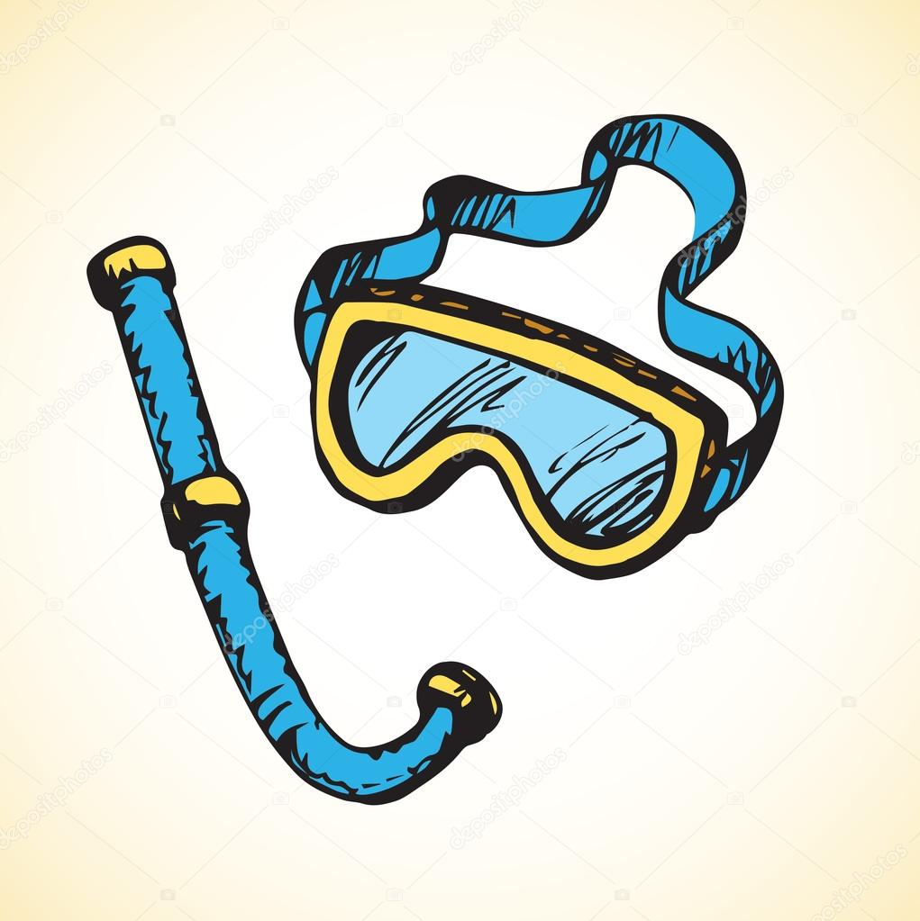 1021x1023 Diving Snorkel And Goggles. Vector Drawing Stock Vector