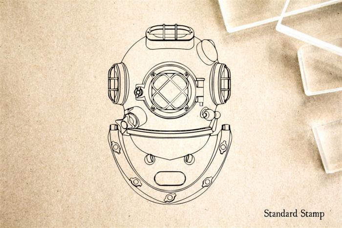 700x467 Diving Helmet Rubber Stamp Standard Stamp