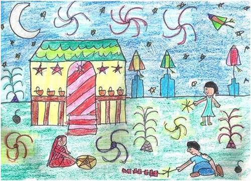 500x361 Diwali Paintings, Drawing Pictures, Scene, Diwali Sketch For Kids