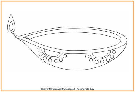 460x315 Diwali Lamp Outline