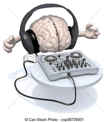 420x470 Brain With Dj Headset In Front Of Consolle, 3d Illustration Stock