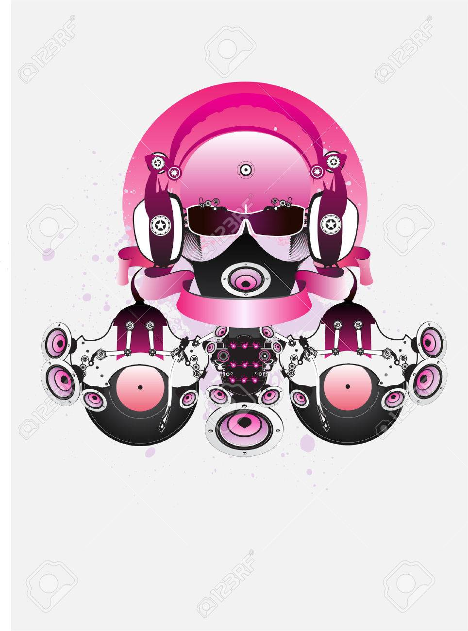 964x1300 Fantastic Dj With Glasses And Headphones. Drawing Can Be Used
