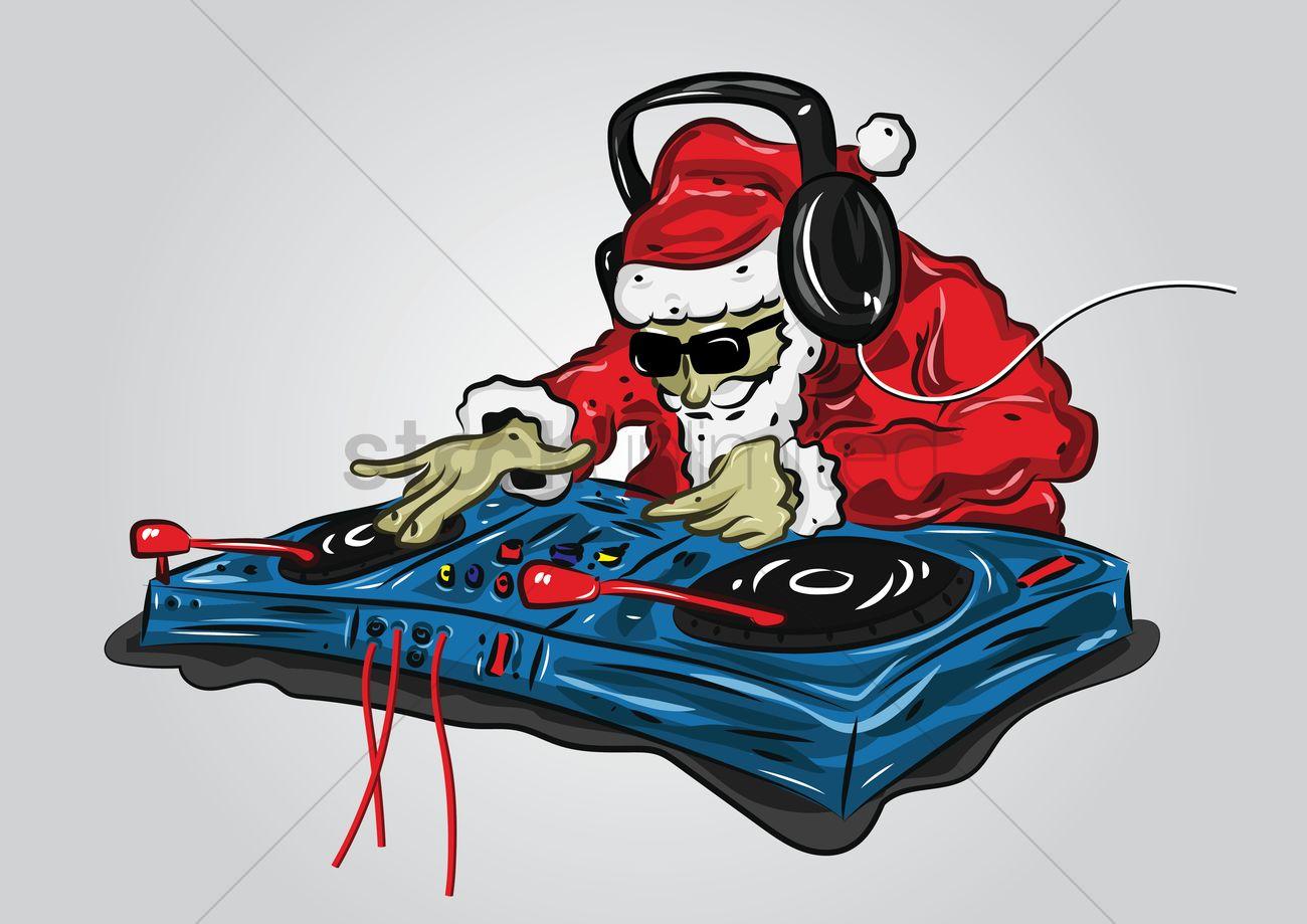 1300x919 Santa Claus As A Dj Mixer Vector Image