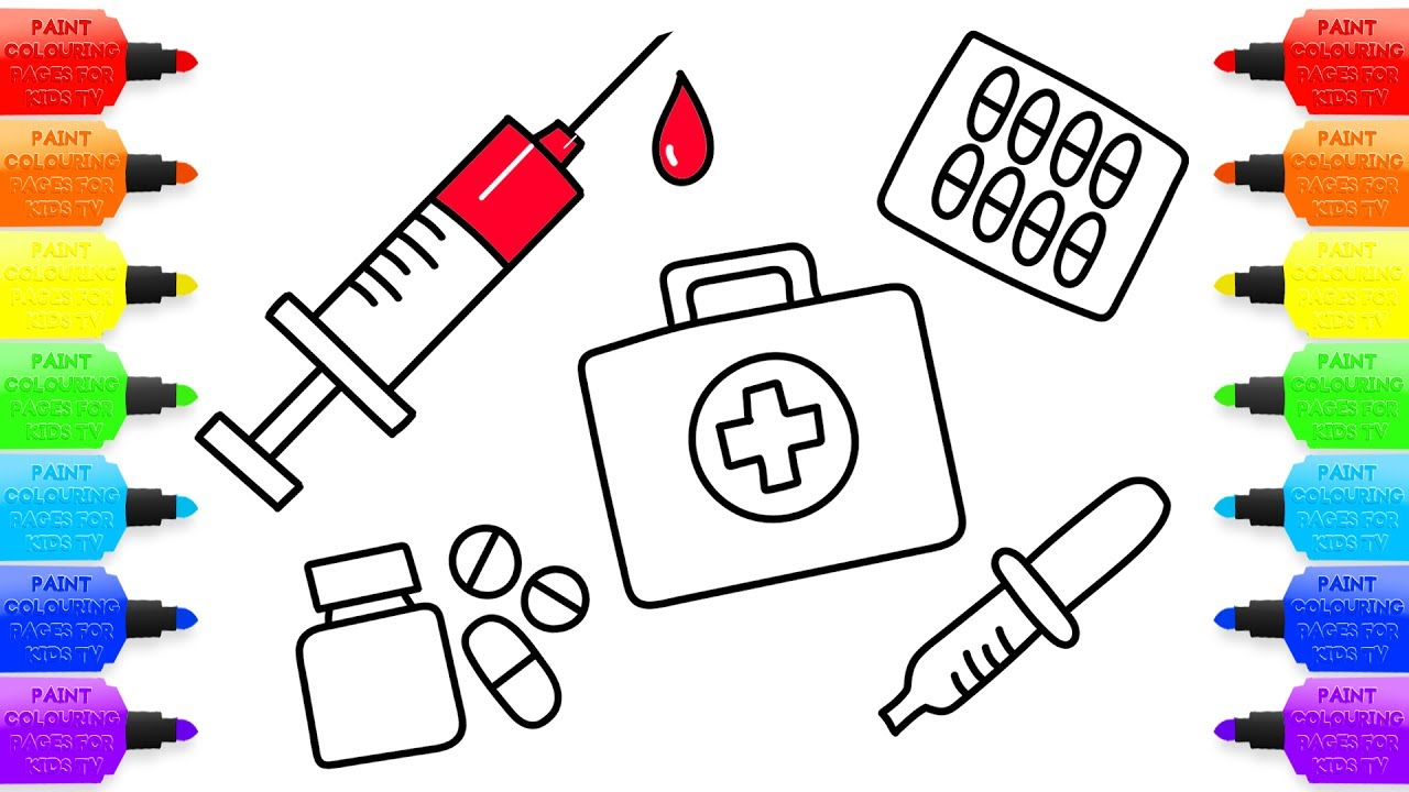 1280x720 How To Draw Medical Doctor Kit For Kids Coloring Pages Medicines