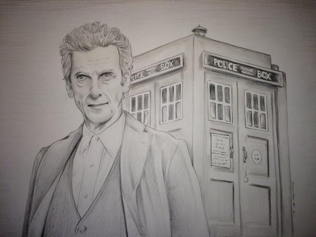 1024x768 Doctor Who Peter Capaldi Drawing By Billyboyuk