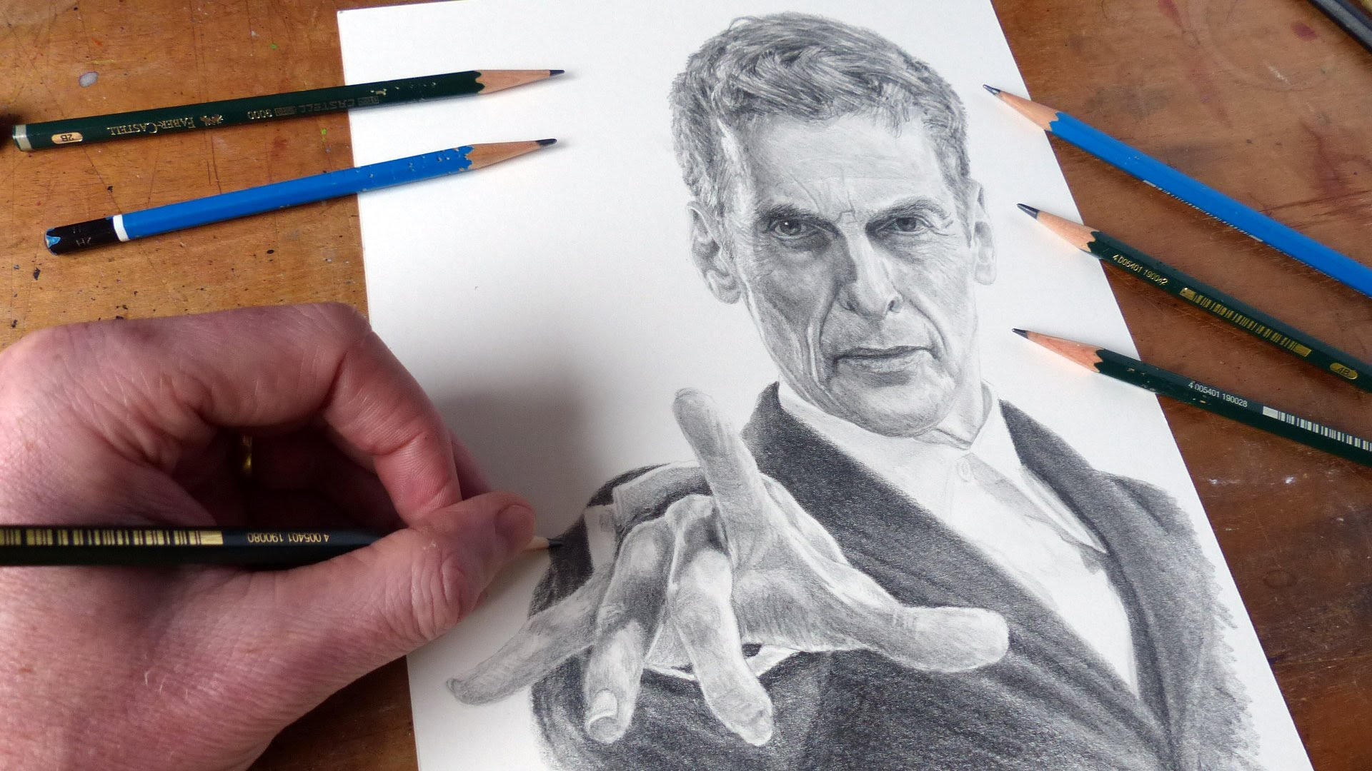 1920x1080 Drawing Doctor Who Peter Capaldi As The Doctor Time Lapse Art