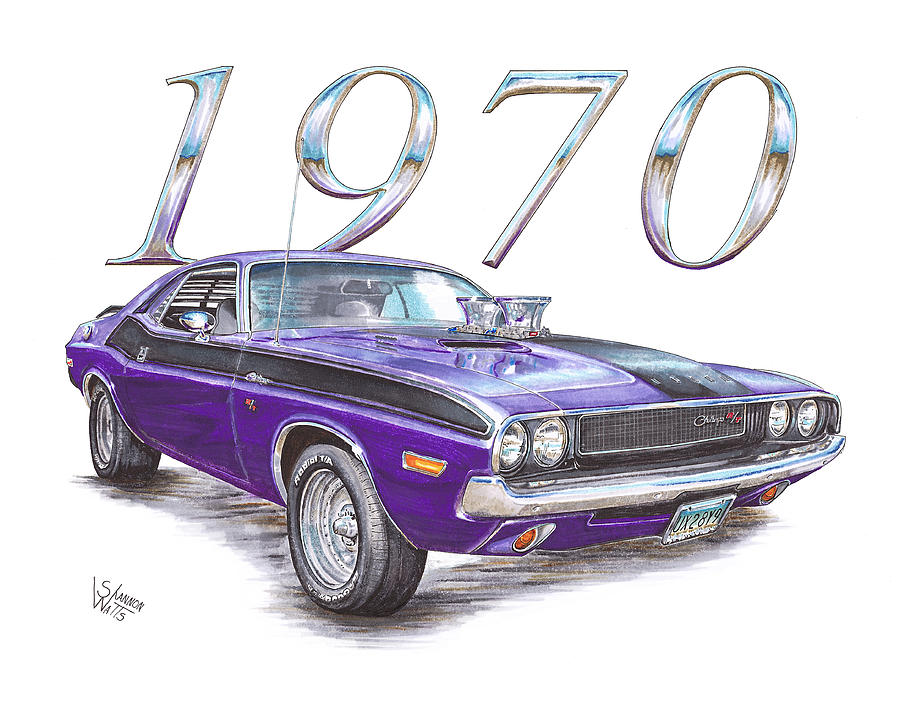 900x705 1970 Dodge Challenger Drawing By Shannon Watts