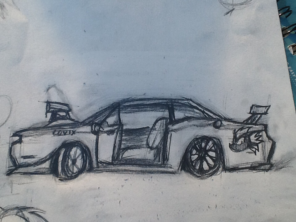 960x720 Car Drawing Dodge Challenger Side View By Jwolve71