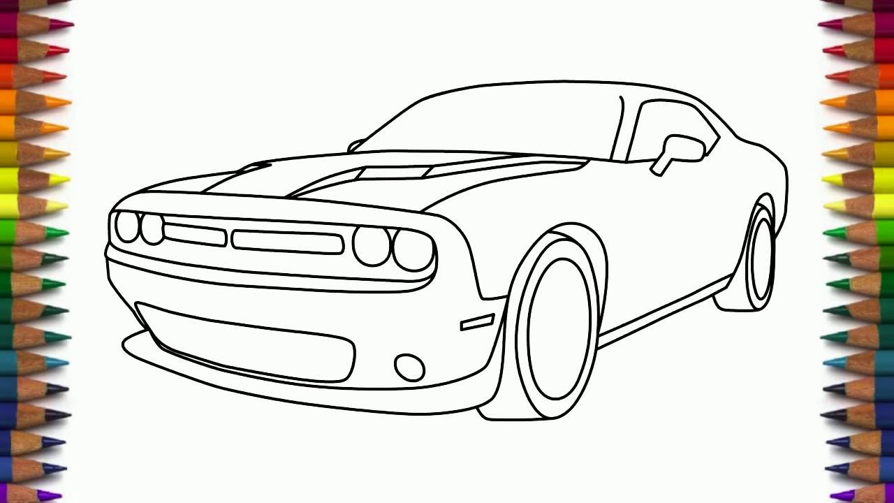 1280x720 How To Draw Dodge Challenger Rt Scat Pack Step By Step