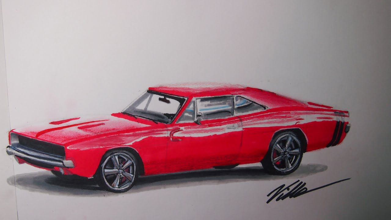1280x720 1968 Dodge Charger Speed Drawing