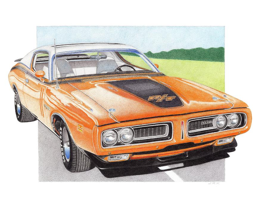 900x670 1971 Dodge Charger Rt Drawing By James Robert