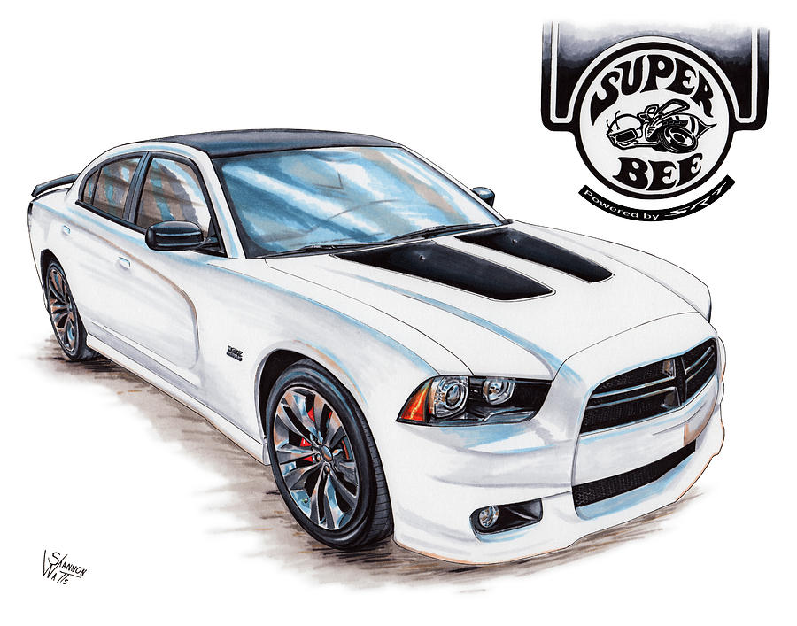 900x707 2014 Dodge Charger Super Bee Drawing By Shannon Watts