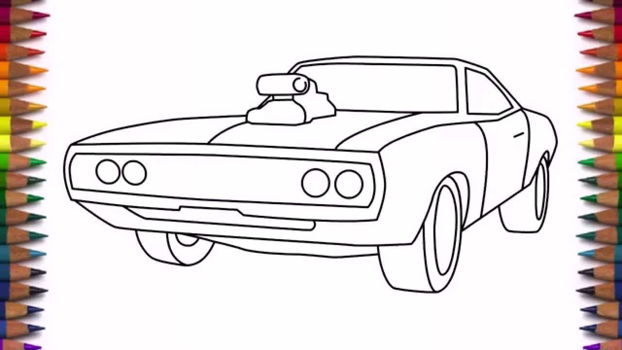 1280x720 How To Draw A Car Dodge Charger 1970 Step By Step For Beginners