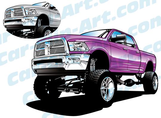 540x395 Dodge 4x4 Show Truck Vector Clip Art Car Clip