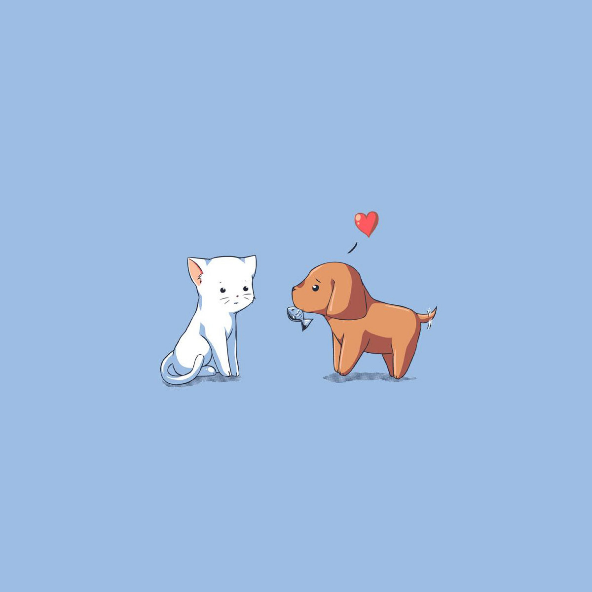 2048x2048 Download Wallpaper 2048x2048 Dog, Cat, Kitten, Puppy, Drawing