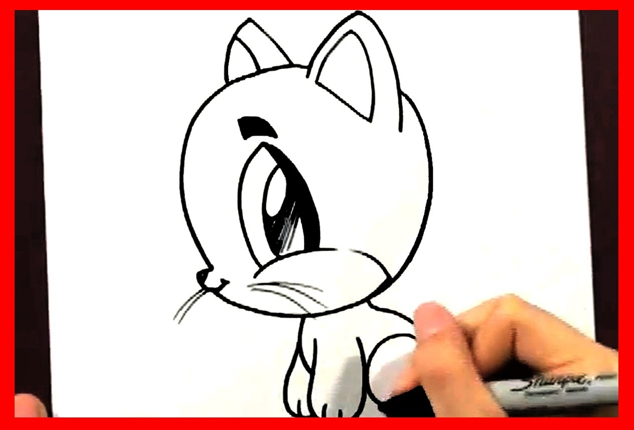 1264x858 How To Draw A Cartoon Cat