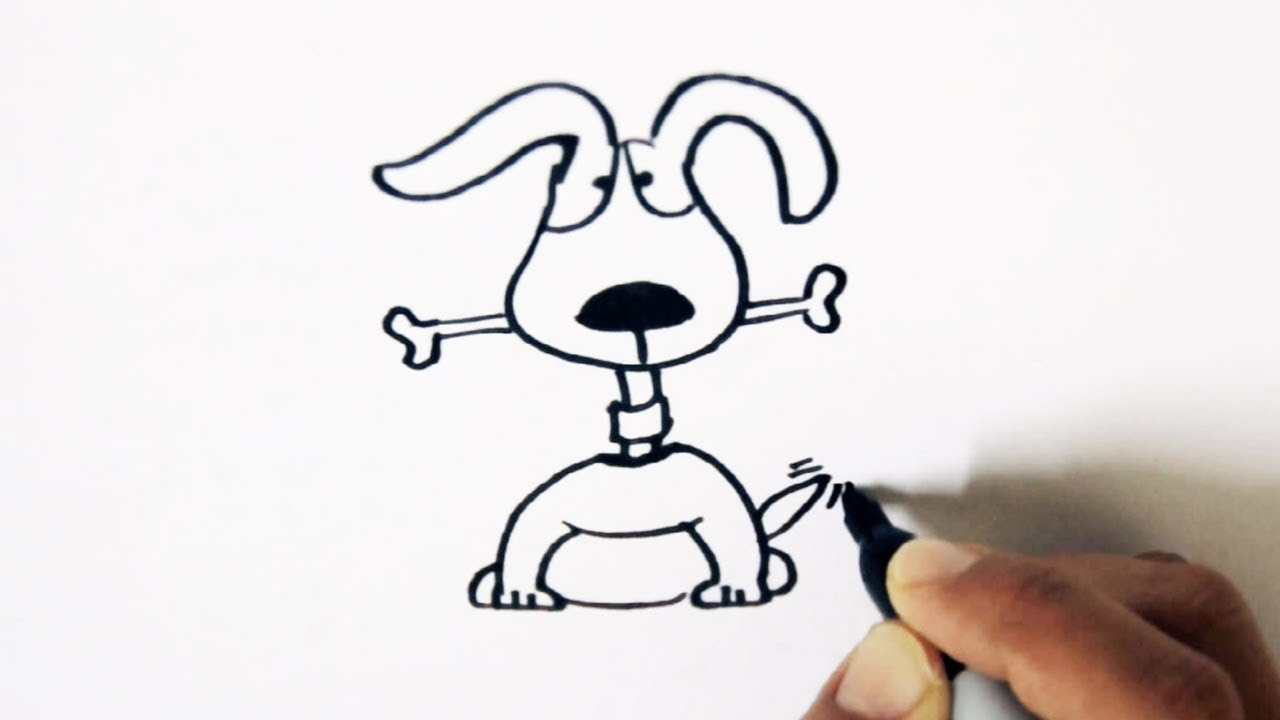 1280x720 How To Draw A Cute Dog With A Bone Cartoon Step By Step Easy