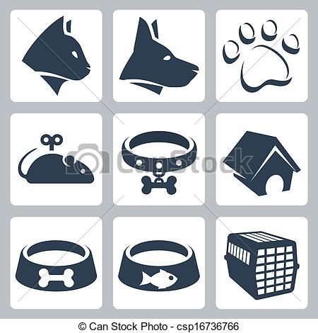 450x470 Vector Pet Icons Set Cat, Dog, Pawprint, Mouse, Collar, Clip