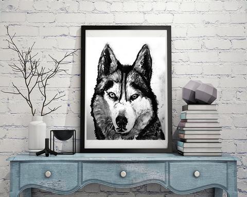480x384 Husky Dog Art Print, Black And White, Husky Dog,charcoal Drawing