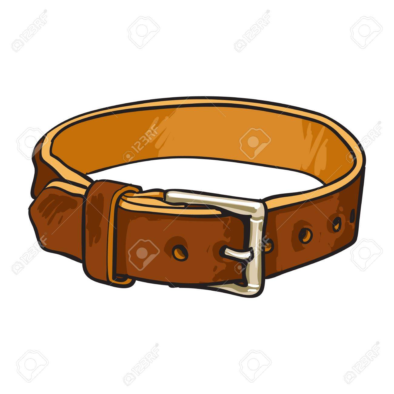1300x1300 Pet, Cat, Dog Brown Leather Collar With Metal Buckle, Sketch