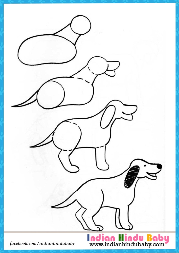 724x1024 Dog Step By Step Drawing For Kids Indian Hindu Baby