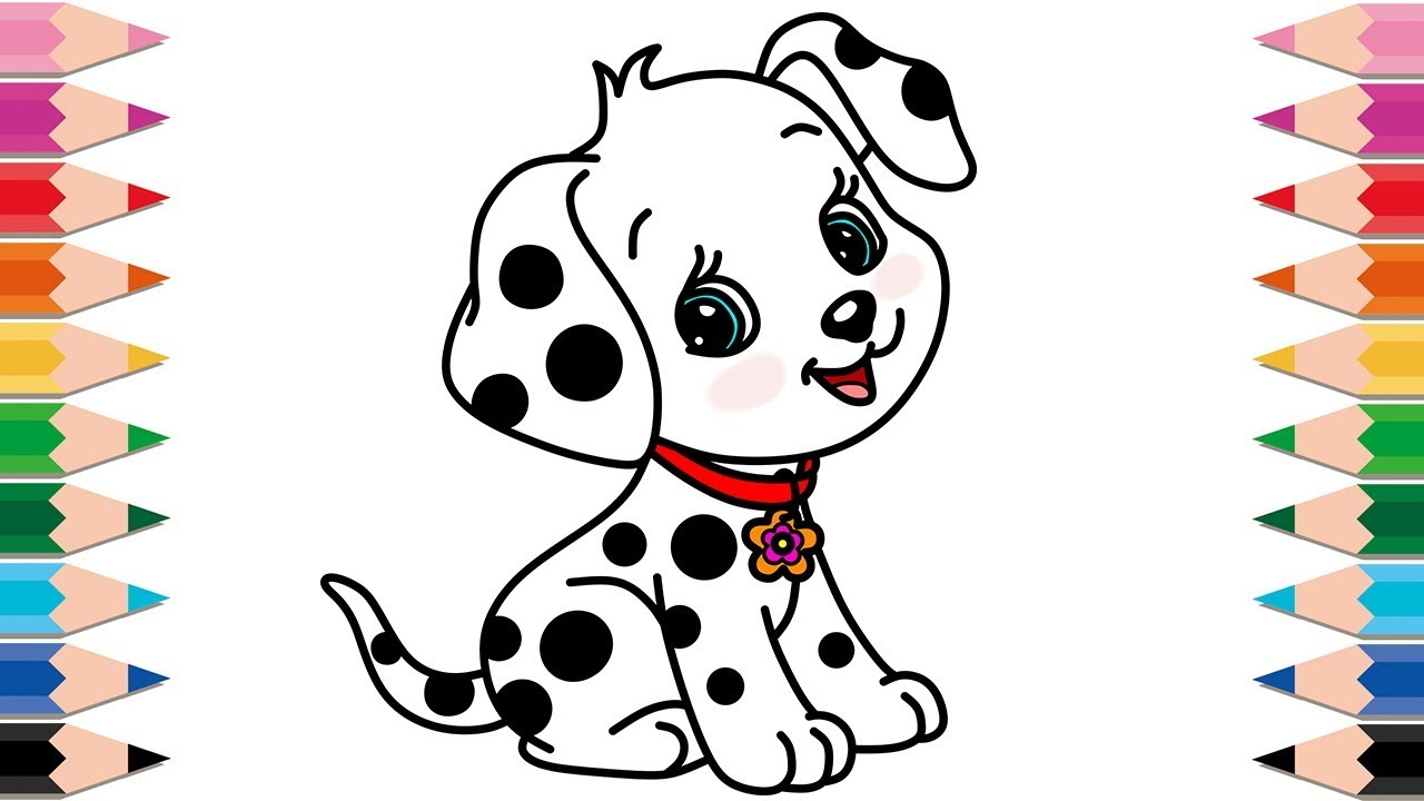 1280x720 How To Draw Dalmatian Cute Dog For Baby Learn Colors Coloring