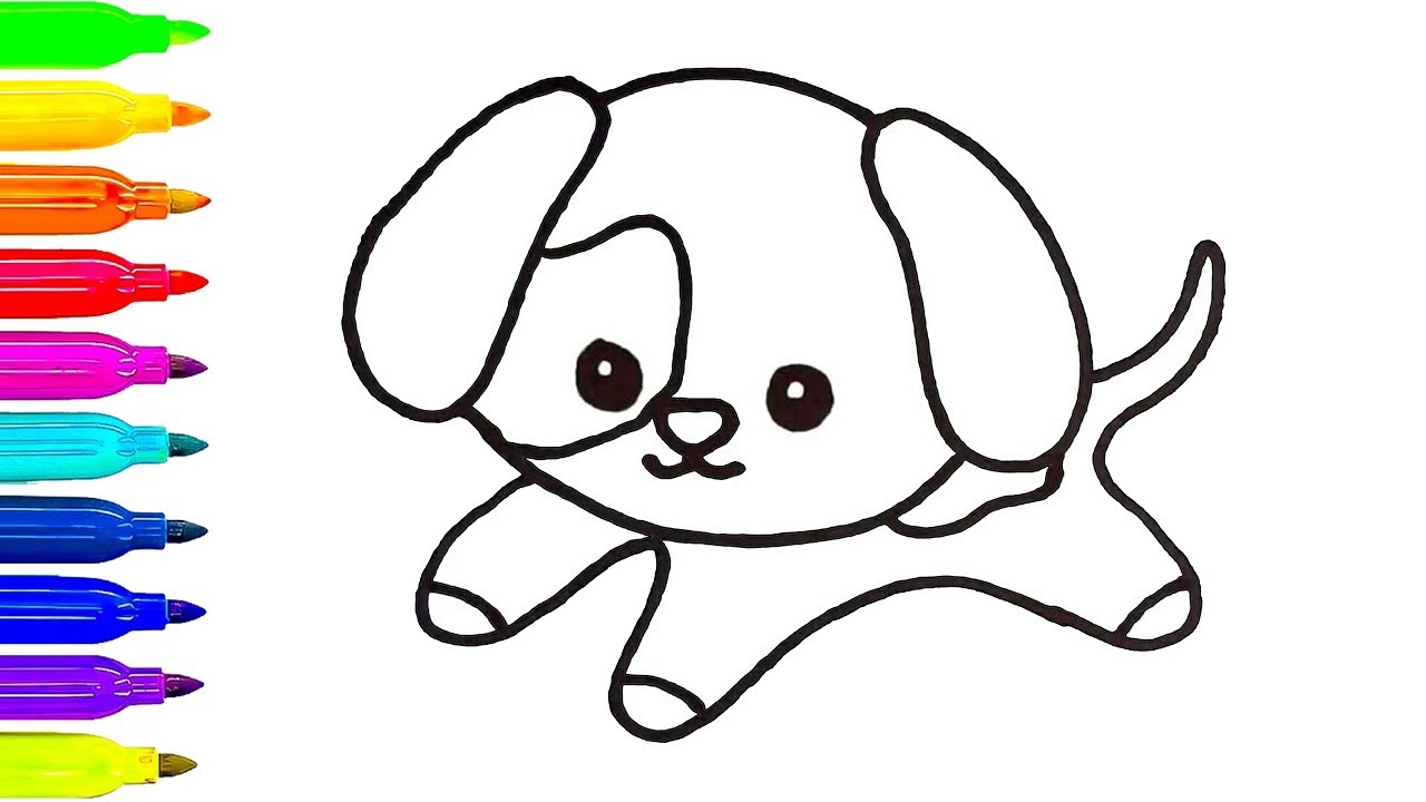1280x720 Baby Dog Drawing For Kids Learn Coloring Art Painting