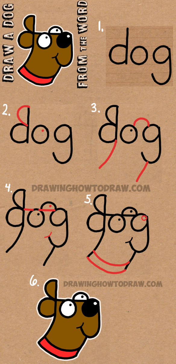 584x1208 How To Draw A Dog From The Word Dog