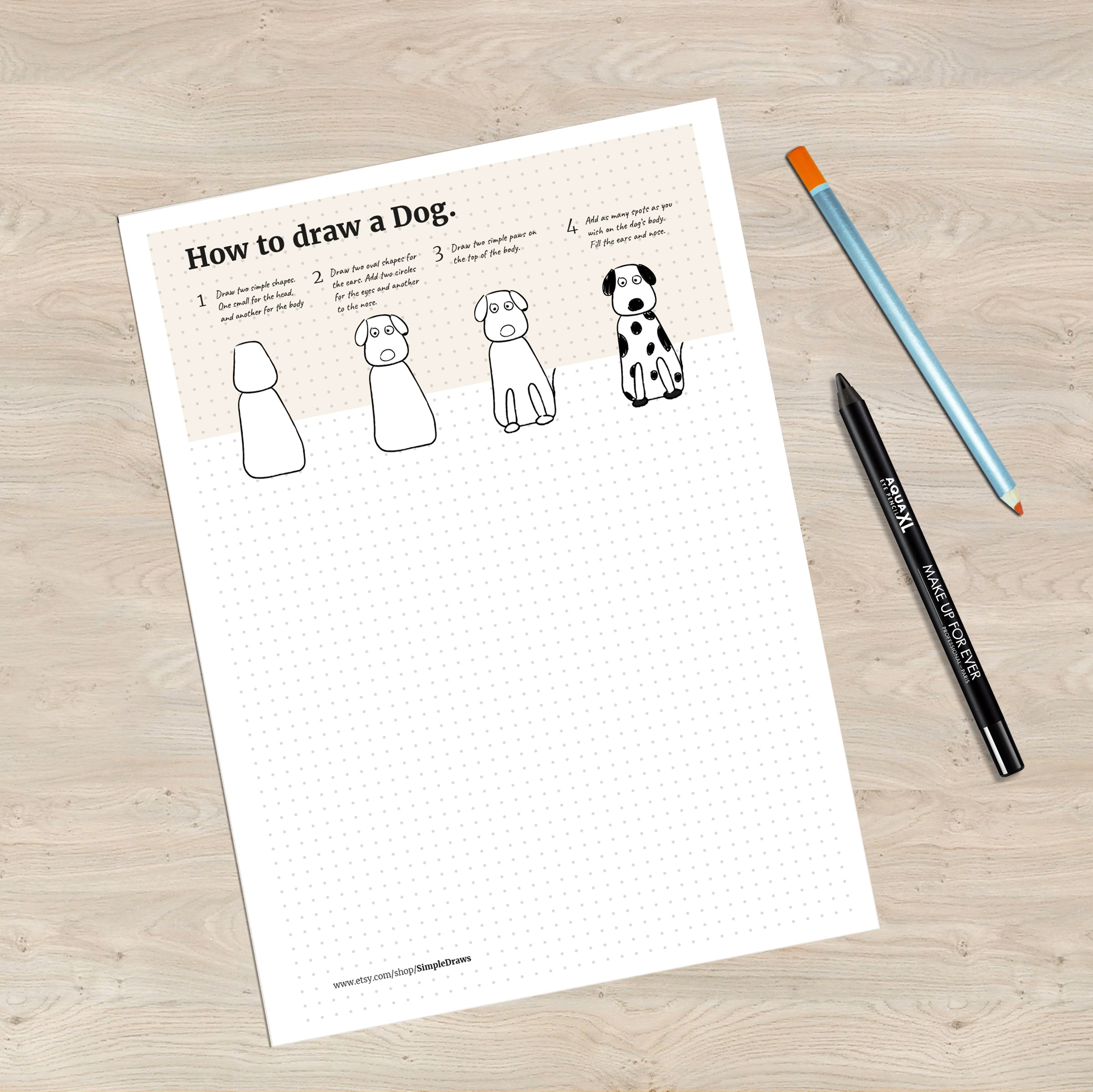 2401x2400 How To Draw A Dog Drawing For Kids Printable Pdf Simple Draws