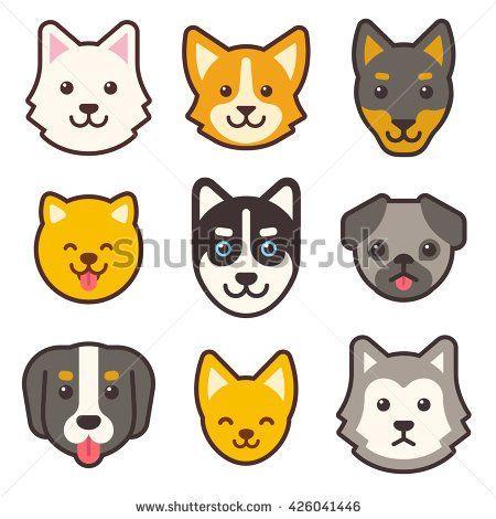 450x470 Cartoon Dog Faces Set. Different Breeds Of Dogs. Husky, Corgi, Pug