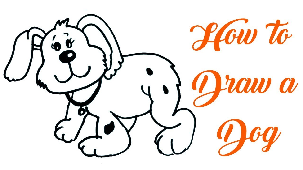 1280x720 How To Draw A Dog For Kids Drawing Of Animals Easy Step By