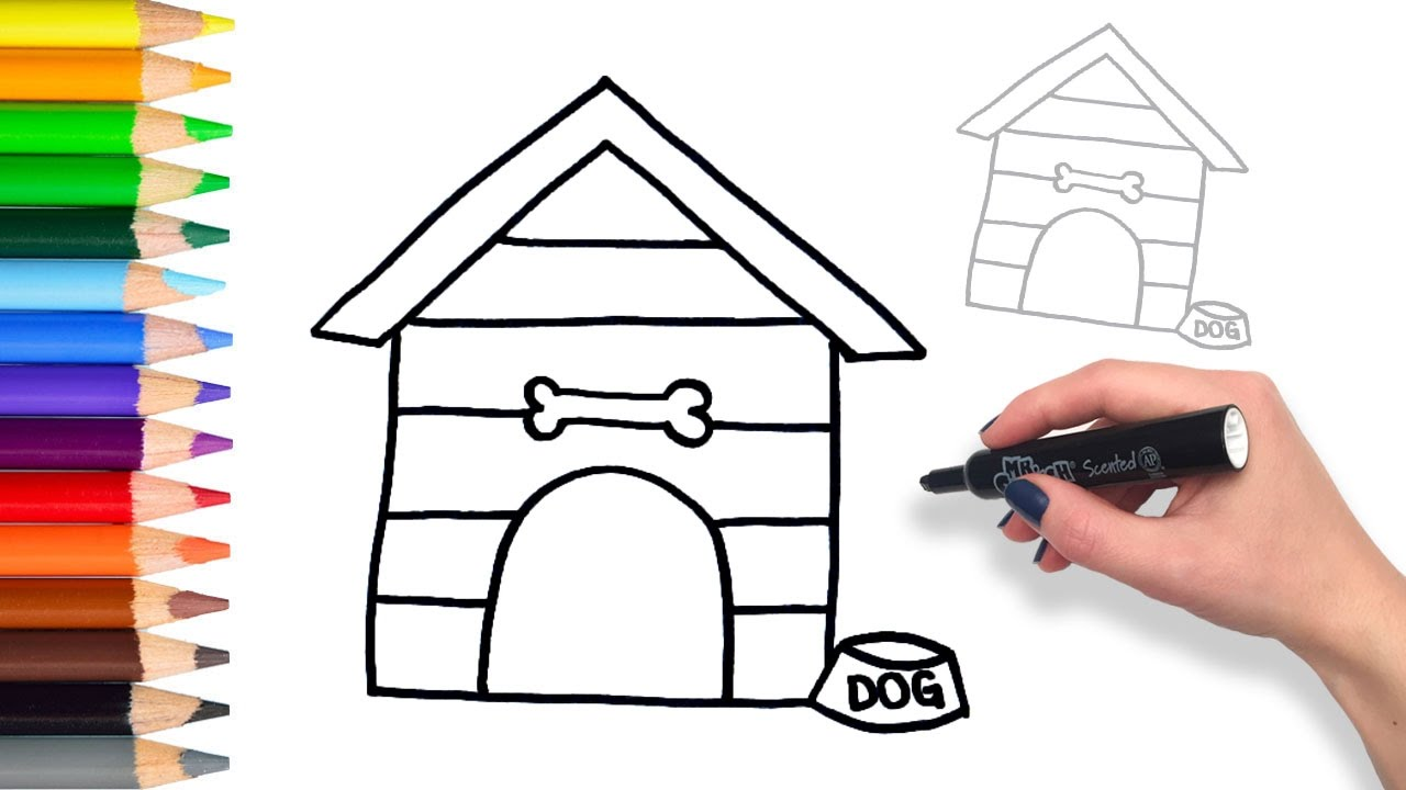 Lovely 1280x720 Learn How To Draw Dog House Teach Drawing For Kids And Toddlers