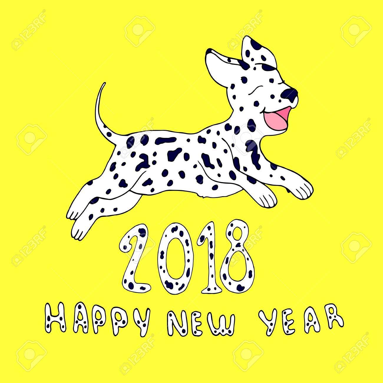 1300x1300 Happy Dog As A Symbol 2018,isolated On Yellow Background.design