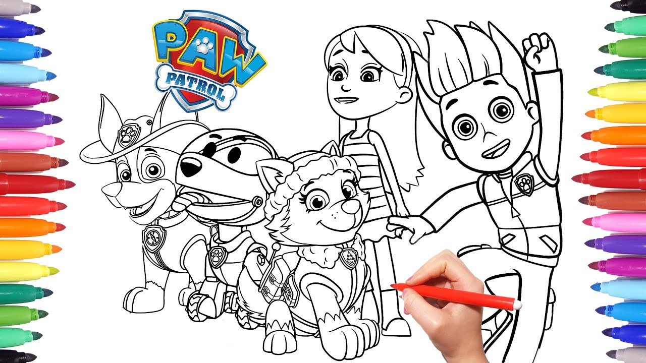 1280x720 PAW PATROL Coloring Book How To Draw Paw Pups For Kids Everest