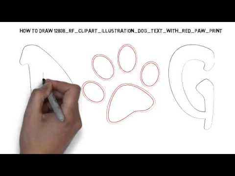 480x360 How To Draw Clipart Illustration Dog Text With Red Paw Print