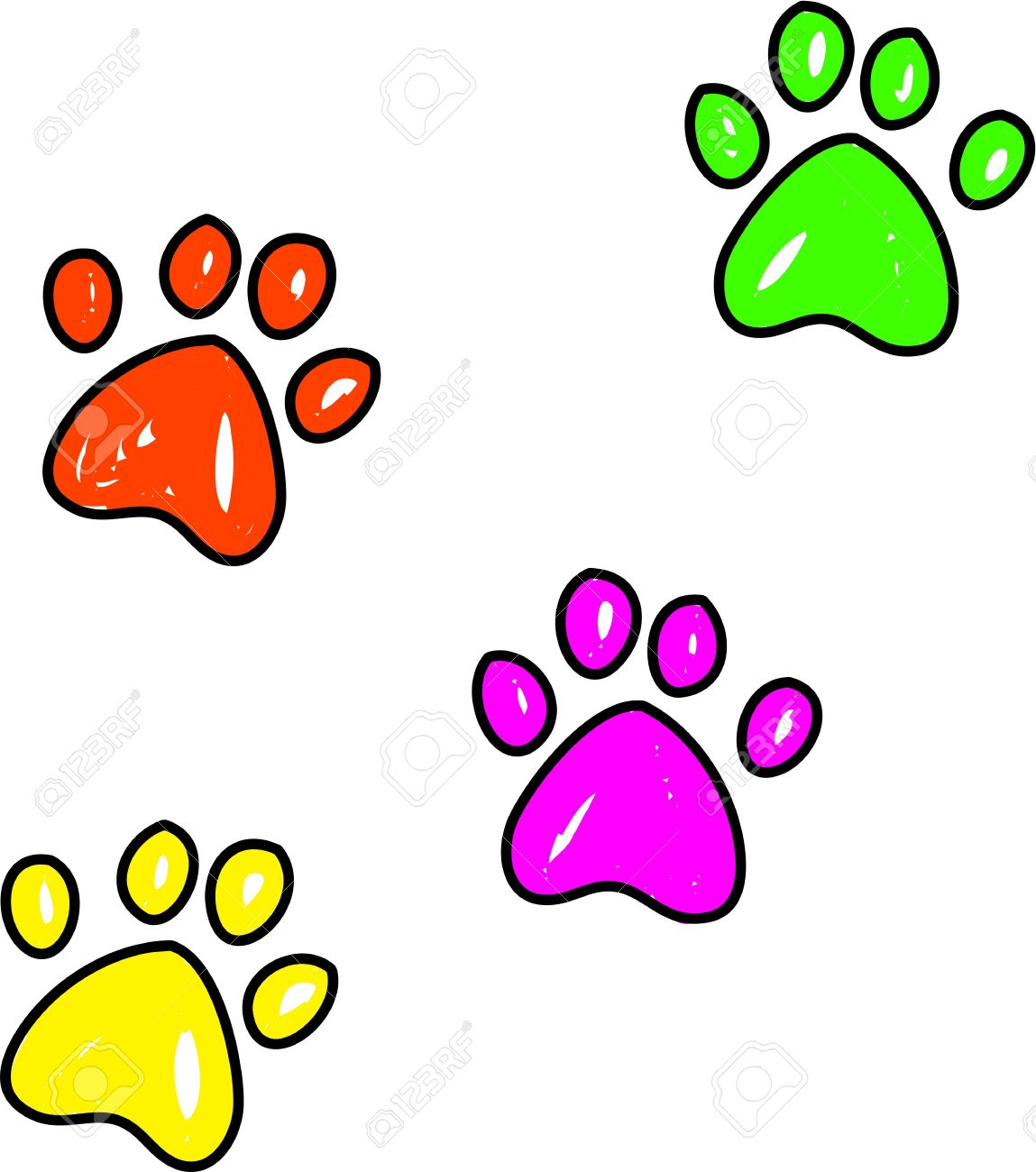 1149x1300 Colourful Whimsical Drawing Of Dog Paw Prints Isolated On White