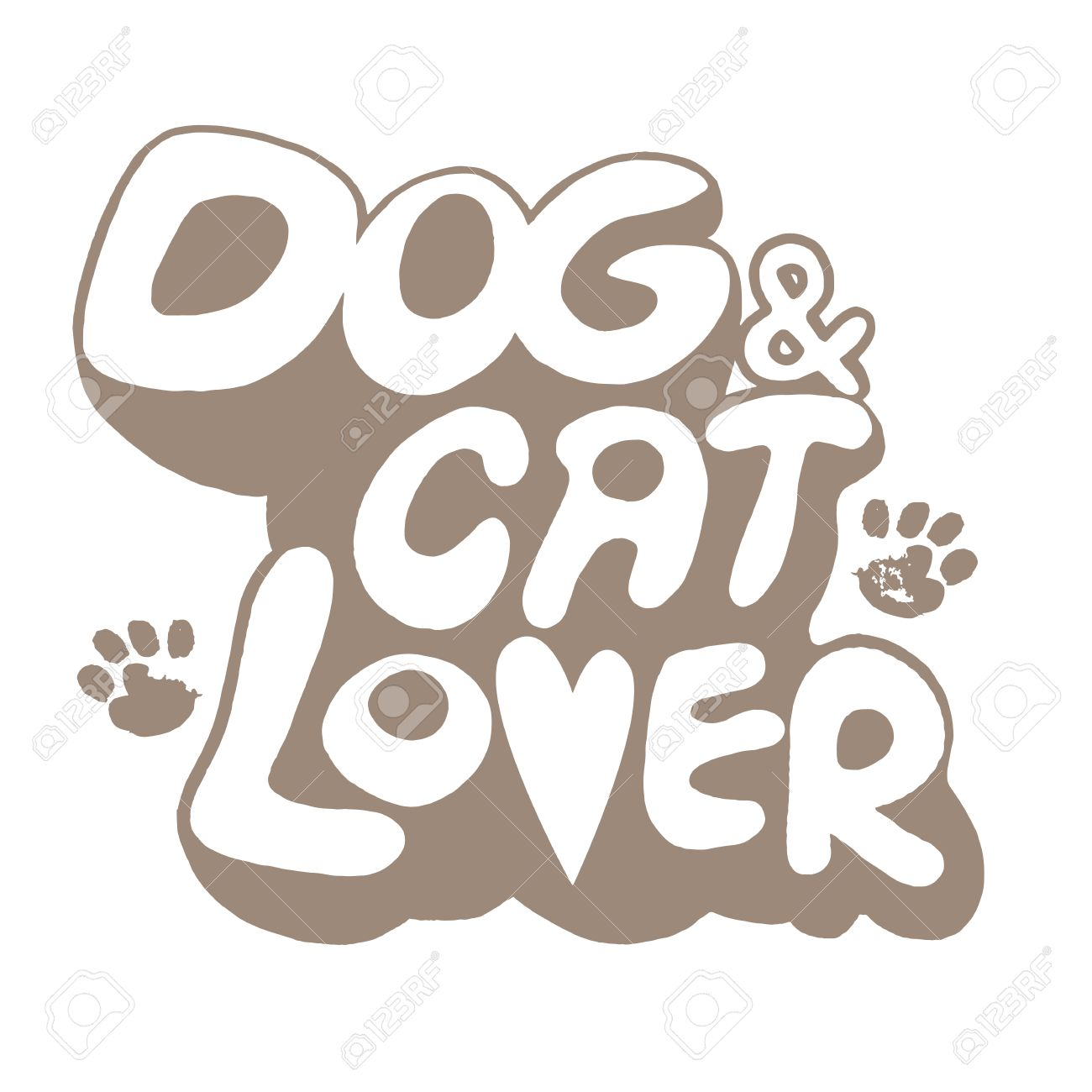 1300x1300 Hand Drawing Doodle Dog And Cat Text With Paw Print.vector