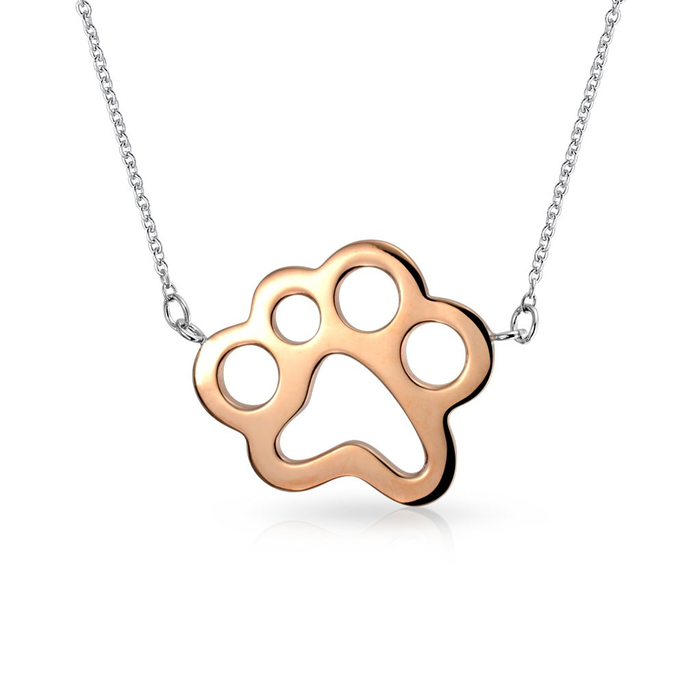 1000x1000 Rose Gold Plated Puppy Dog Animal Paw Print Pendant Necklace 16in
