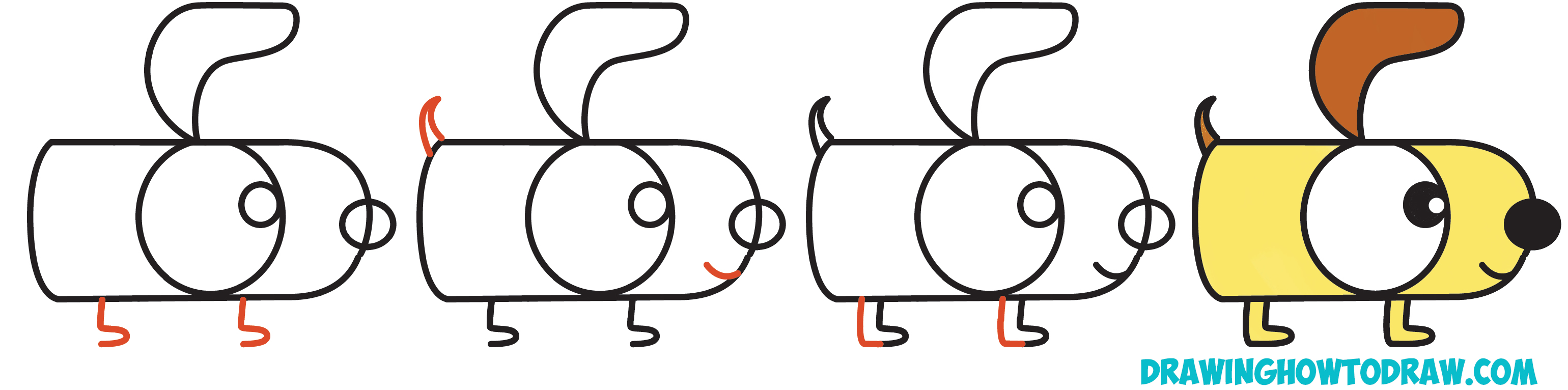 3080x766 How To Draw A Cartoon Dog From Letters G And H Easy Step By