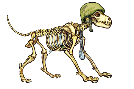 450x300 451 Anatomical Illustration Of A Dog Skeleton Wearing An Army Helmet