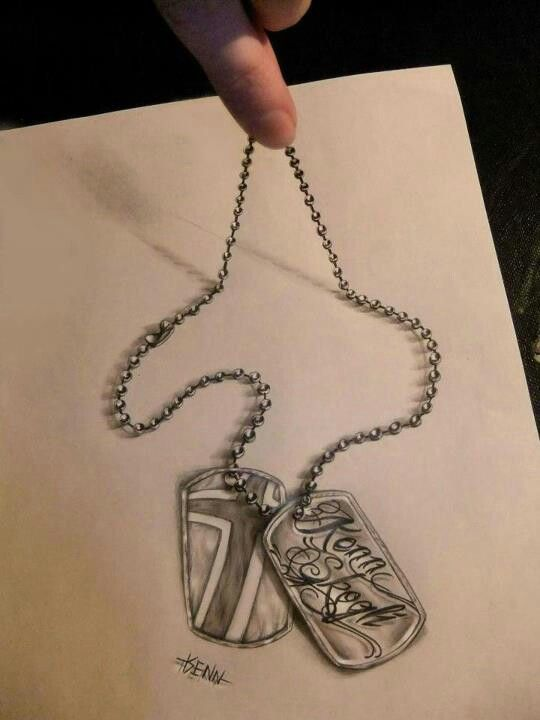 540x720 3d Drawing I Like How The Artist Made The Dog Tags Look As Though