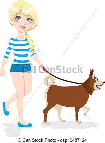 346x470 Girl Walking Dog. Young Pretty Blond Girl Walking With Dog Vector