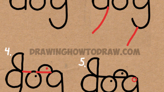 570x320 Drawing A Dog With The Word Dog How To Draw A Dog From The Word