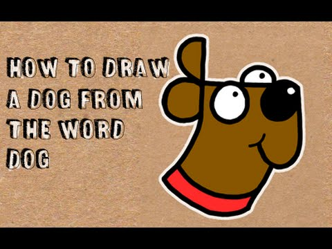 480x360 The Word Dog Into Three Cartoon Dogs. (Word Drawing)