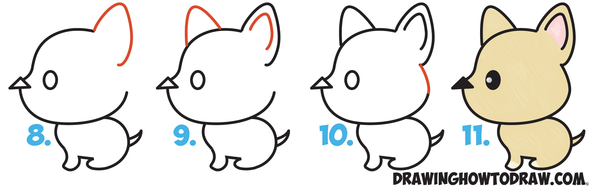 2500x794 How To Draw Cute Kawaii Dog From Arrow Easy Step By Drawing