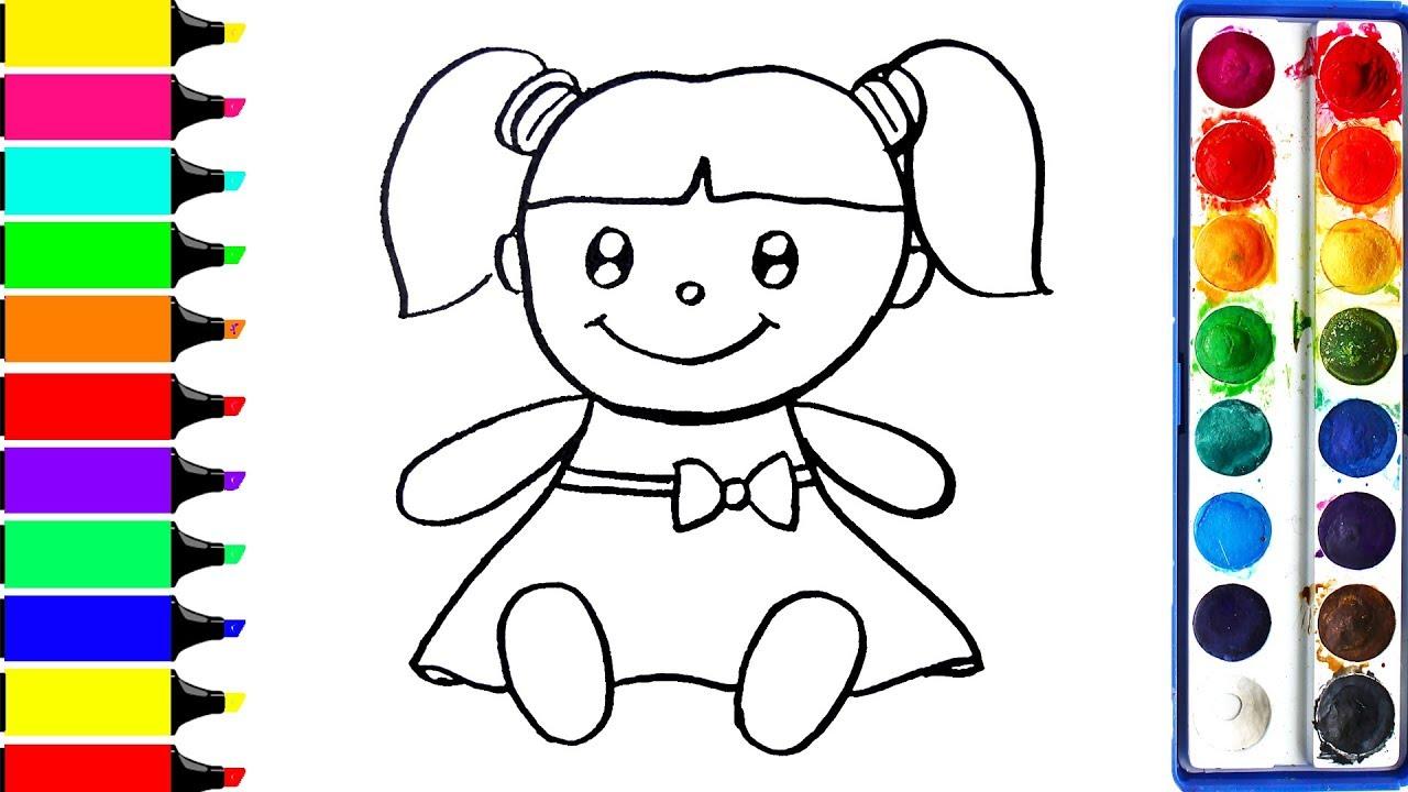 1280x720 How To Draw Doll Coloring Book For Kids To Learn Learn Colors